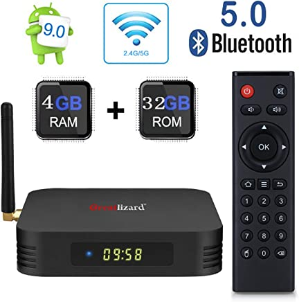 Android 9.0 TV Box,Greatlizard TX6 Android Box 4GB DDR3 32GB ROM BT5.0 Dual WiFi 2.4G+5G Quad Core 1080p 4K HDR Smart TV Media Box