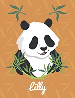 Lilly: Personalized Sketchbook & journal Gift for Panda, 100 Pages, 8,5''x11'', Soft Cover, Matte Finish Sketchbook for Gi...