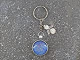 Schlüsselanhänger-Cabochon-mit Schutzengel*blau Glitzer