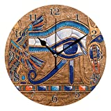 AUUXVA MAHU Wall Clock Egyptian Papyrus Horus Eye, Quiet Silent Non Ticking Round Clock for Kitchen Bedroom Living Room Office Classroom Home Decor