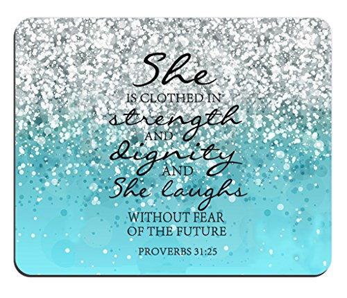 Blue Glitter Mouse Pad Bible Verse proverbs 31:25 She is Clothed in Strength And Dignity And She Laughs Without Fear of the Future Rectangle Non-Slip Rubber Mouse pad