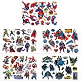 Qemsele Tatuajes Temporales Para Niños Niñas, 10 Sheets 200+ Pcs Hojas Dibujos animados Tatuaje Falso Pegatinas Para piñata Niños infantiles fiesta de cumpleaños regalo Bolsas Relleno (Superhéroe)