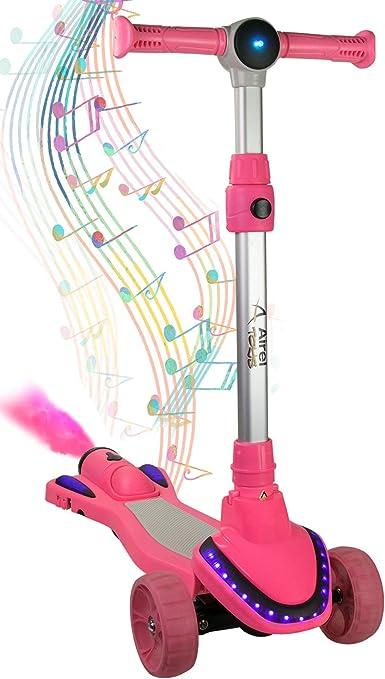 Airel Patinete para Niños con Música y Vapor | Scooter 3 Ruedas | Patinete con Luces | Patinete Ajustable | Patinete para Niños de 3-8 Años