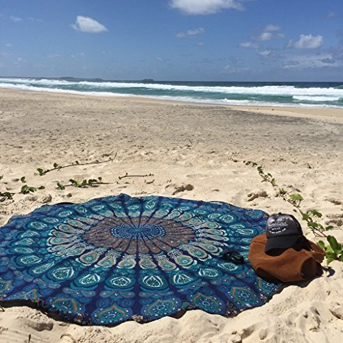 Tela redonda de mandala estilo hippie, cubrecama, 177,8 cm, tela, azul, 70 inch.