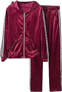 Sweatershirt Suit Women Long Sleeve Stripe Gold Velvet Hooded Jacket Zipper Casual Blouse Pants