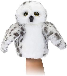 Folkmanis Little Snowy Owl Little Puppet, White, Gray, Black