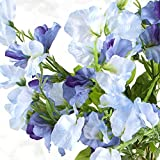 Factory Direct Craft Blue Hued Poly Silk Sweet Pea Floral Bush | for Indoor Decor