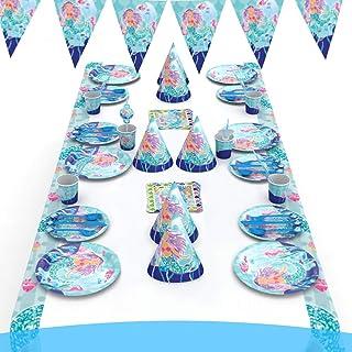 لوازم حفلات حورية البحر مكونة من 16 قطعة، اكواب ومناديل ومفرش طاولة ولافتة بالونات باحرف كلمة عيد ميلاد سعيد