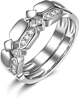أطقم زفاف من الفضة الإسترلينية 925 من SUPRAONE CZ خواتم زفاف لامعة مجموعة خاتم الخطوبة للنساء مقاس 6