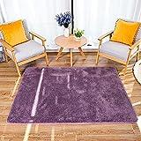 HETOOSHI Alfombra Salon Grandes Shaggy - Alfombras Dormitorio Modernas Pelo Largo Lavables - para Comedor, Dormitorio, Pasillo y Habitación Juvenil (Púrpura grisáceo, 80 x 160 cm)
