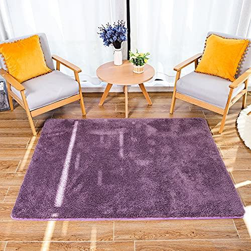 HETOOSHI Alfombra Salon Grandes Shaggy - Alfombras Dormitorio Modernas Pelo Largo Lavables - para Comedor, Dormitorio, Pasillo y Habitación Juvenil (Púrpura grisáceo, 60 x 90 cm)