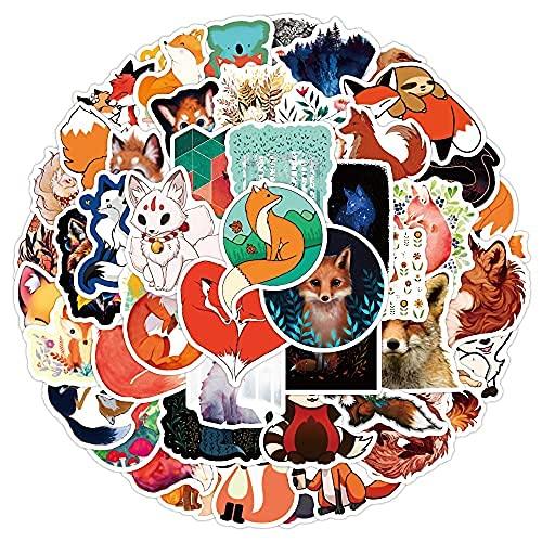 XXCKA 50 Piezas pequeño Animal Zorro Dibujos Animados Lindo portátil Maleta Pegatinas Impermeable Graffiti Pegatinas