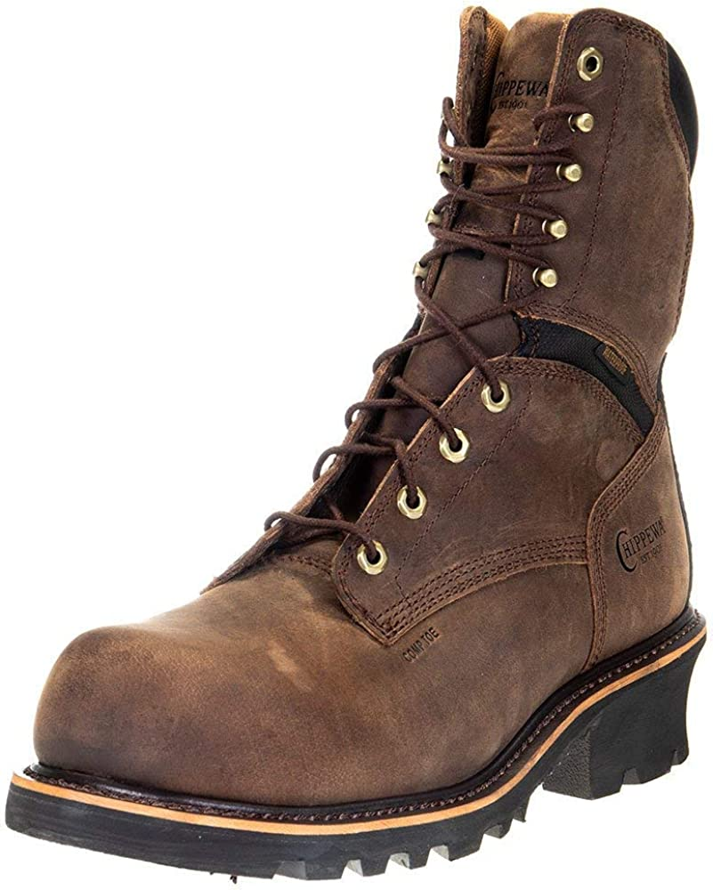 Chippewa Mens Sador 9 Inch Waterproof Composite Toe Work Work Safety Shoes Casual - Brown - Size 8.5 D