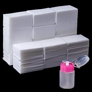 1000 عدد ژل پاک کننده ناخن ناخن ، دستمال مرطوب ناخن بدون پرز با یک پمپ تلگراف پمپ بطری ناخن یکبار مصرف پاک کننده لاک ناخن برای خیساندن ژل UV پاک کننده پاک کننده ناخن های اکریلیک
