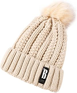 4dc2ad2321cc19 Landove Unisex Winter Warm Knitted Beanie Fleece Foldable Hat Cap with Faux  Fur Pom Pom