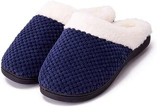 Guomao Men's Comfortable Memory Foam Slippers Imitation Wool Plush Velvet-Lined Shoes (Color : Navy, Size : 36-37)