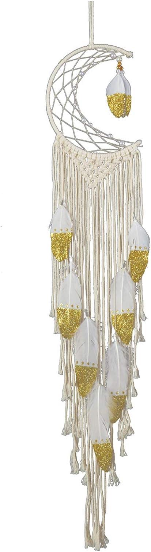 Over item handling ☆ Newrys Dream Catcher Wall Hanging Manufacturer OFFicial shop Feather Crescent Golden
