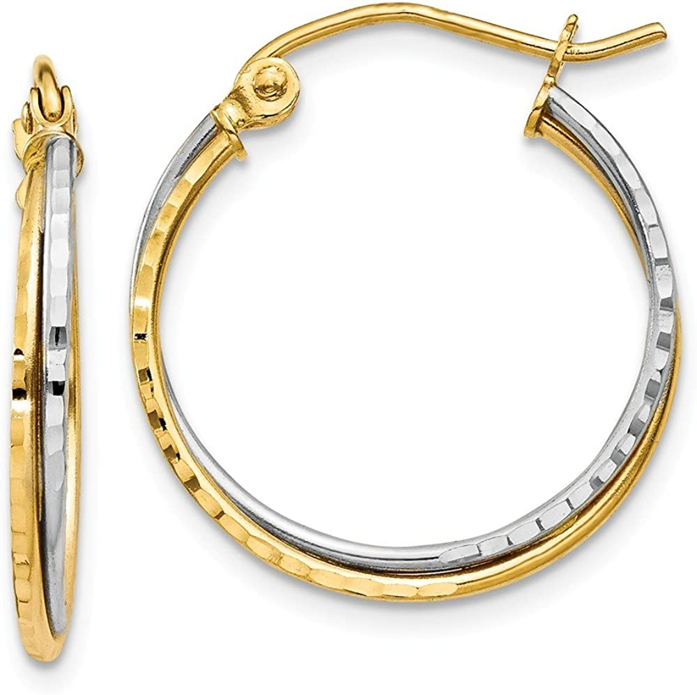 14k Yellow White Gold Twisted Hoop Earrings Ear Hoops Set Round Fine Jewelry For Women Gifts For Her