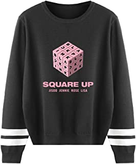 JLTPH Mujeres Blackpink Jersey de Punto Redondo Cuello Square UP Impresión de Cartas Suéter de Manga Larga Suéter de Punto...
