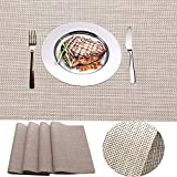 IMIYOKU Placemat, MiniBasketweave Woven Vinyl Non-Slip Insulation Placemat Washable Table Mats (4, Beige)