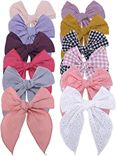 Fable Bow Hair Clips Baby Girls Kids Women Cotton Linen Hair Bow Clips Large Sailor Hair Bows Accessories Hairgrips (Natur...