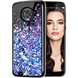 Caka Moto G6 Case, Moto G6 Glitter Case Bling Cute for Women Girls Luxury Fashion Flowing Liquid Floating Sparkle Glitter Girly Soft TPU Case for Moto G6 2018 (Blue Purple)