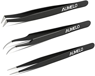 Tweezers for Eyelash Extensions by AUMELO - 3 PCS Professional Stainless Steel Precision Eyelashes Lash Tweezers Set for Your Beauty - Steel Pointy Ends Meet Perfectly,Black