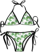 Moda Mujer Linda Corriendo impresión de Tortuga Sexy Bikini de Dos Piezas Set Traje de baño de Playa