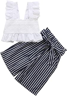 1-6 Yrs Toddler Kids Baby Girls Lace Crop Tops Sleeveless T-Shirt Striped Bow-Knot Pants Outfits Set Clothes