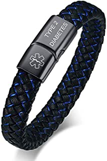 Blue Braided Leather Medical Symbol Caduceus with Magnetic Clasp Cuff Wristband Bracelet,8.0/9.0