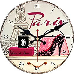 MEISTAR Home Decorative Wooden 12 Inch Round Wall Clocks,French Style Fashionable High-Heeled Shoes Design Wall Clocks for Kitchen,Living Room,Bedroom