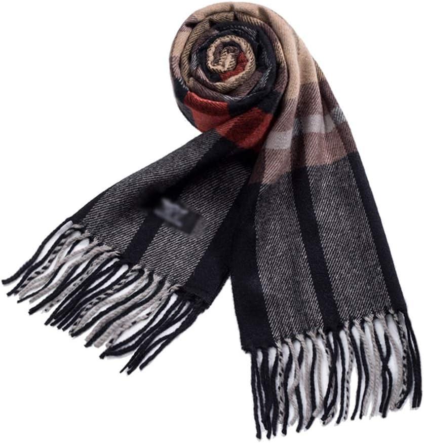 Men Scarf Mens Winter Scarf Warm Plaid Scarf Tassel Soft Fashion Scarves Young Men Women Neck Warmer Elegant Classic Scarf for Men (Color : Black)