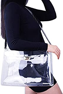 Flada Clear Handbag Purse Stadium Approved Transparent Crossbody Shoulder Bag for Women