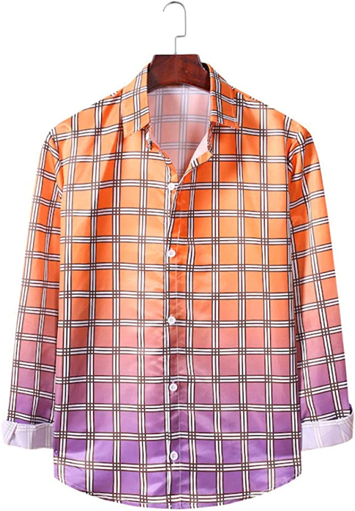 Men's Cardigan Fashion Large Size Casual Plaid Gradient Long-Sleeved Autumn and