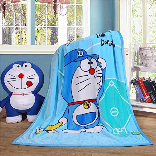 Manta de terciopelo coral, diseño de Hello Kitty para adultos y bebés, manta de terciopelo coral, para recámara, sofá, salón, aire acondicionado, 40 x 55 pulgadas (Doraemon)