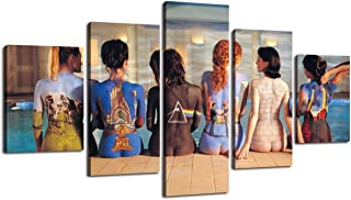 H&H Large Wall Art Modern Canvas Pink Floyd Back Catalogue Painting Pictures for Home Decoration HD Print 5 Panel Artwork Giclee Artwork for Wall Decor Gallery-Wrapped Stretched Ready to Hang