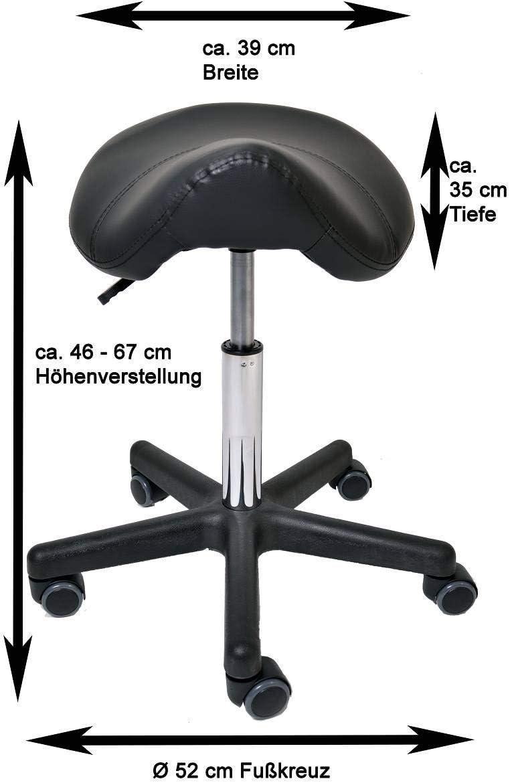 Tabouret de Selle réglable en Hauteur avec roulettes en PU pour la Protection du Sol - Tabouret roulettes 360° Rotatif Bleu