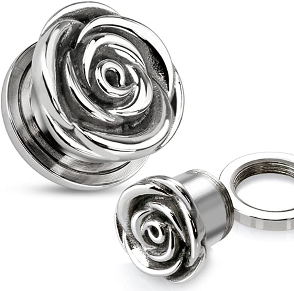Zaya Body Jewelry Pair Award of Stainless Surgical Steel Rose E Flower Time sale