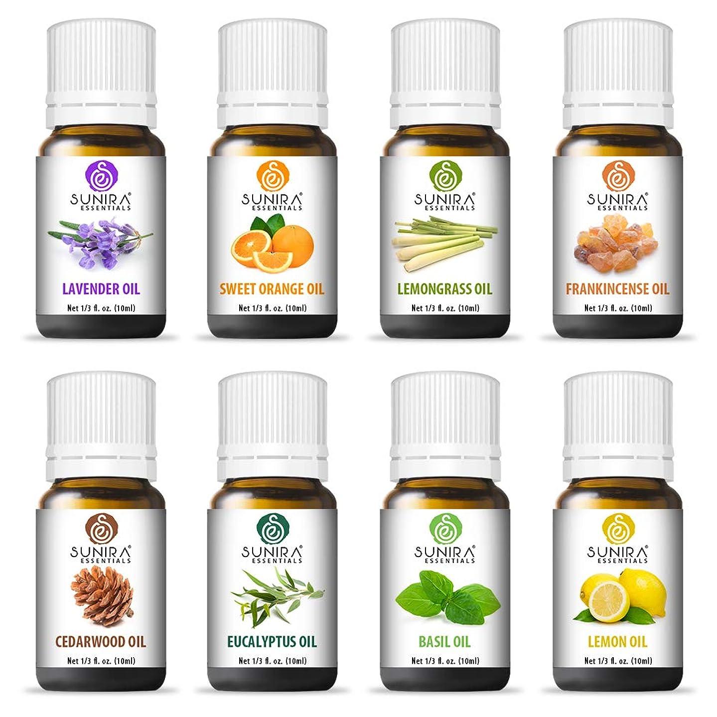 Sunira Essential Oil Set - Top 08, Therapeutic Grade, 100% Pure Essential Oils (Lavender, Basil, Lemon, Eucalyptus, Frankincense, Lemongrass,Cedar wood & Orange)