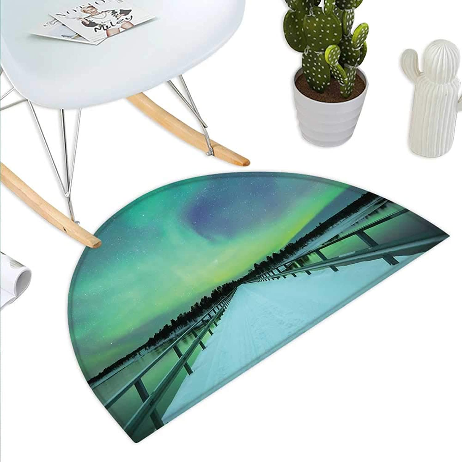 Aurora Borealis Semicircle Doormat Long Mystic Sky Over Bridge in Snowy Arctic Frozen River Image Halfmoon doormats H 39.3  xD 59  Lime Green Petrol bluee