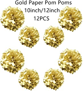 Tim&Lin Gold Paper Pom Poms - Party Tissue Paper Flowers Balls - Party Hanging Decoration Supplies - Size of 10inch, 12inch, Great for Wedding, Birthday, Any Parties and Events (12 PCS)