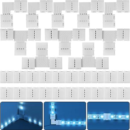 30 Pièces Kit de Connecteur de Bande LED RGB Complet, 4 Broches 10 mm Extension d'Adaptateur sans Soudure Compatible avec Bande LED SMD 5050, 20 Connecteurs Gapless, 5 L Connecteurs 5 T Connecteurs