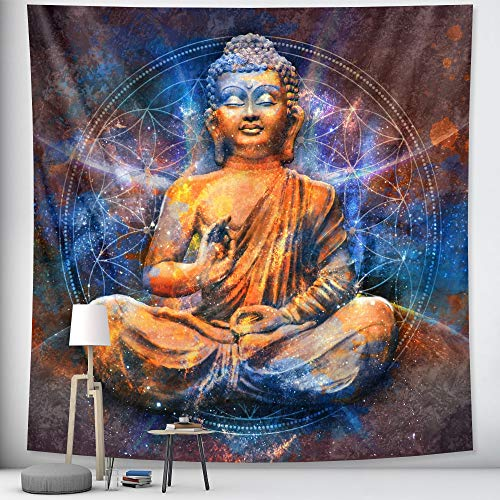 PPOU Indian Buddha's meditation psychedelic art tapestry wall hanging hippie bohemian ornament mandala blanket hanging cloth A1 73x95cm