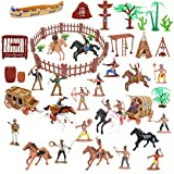 BeebeeRun Wild West Cowboys and Indians Plastic Figures Playset,Educational Bucket Toys of Native American Indians Plastic Action Soldiers Figurines and Accessories,War Game Toys for Kids Boys (77PCS)