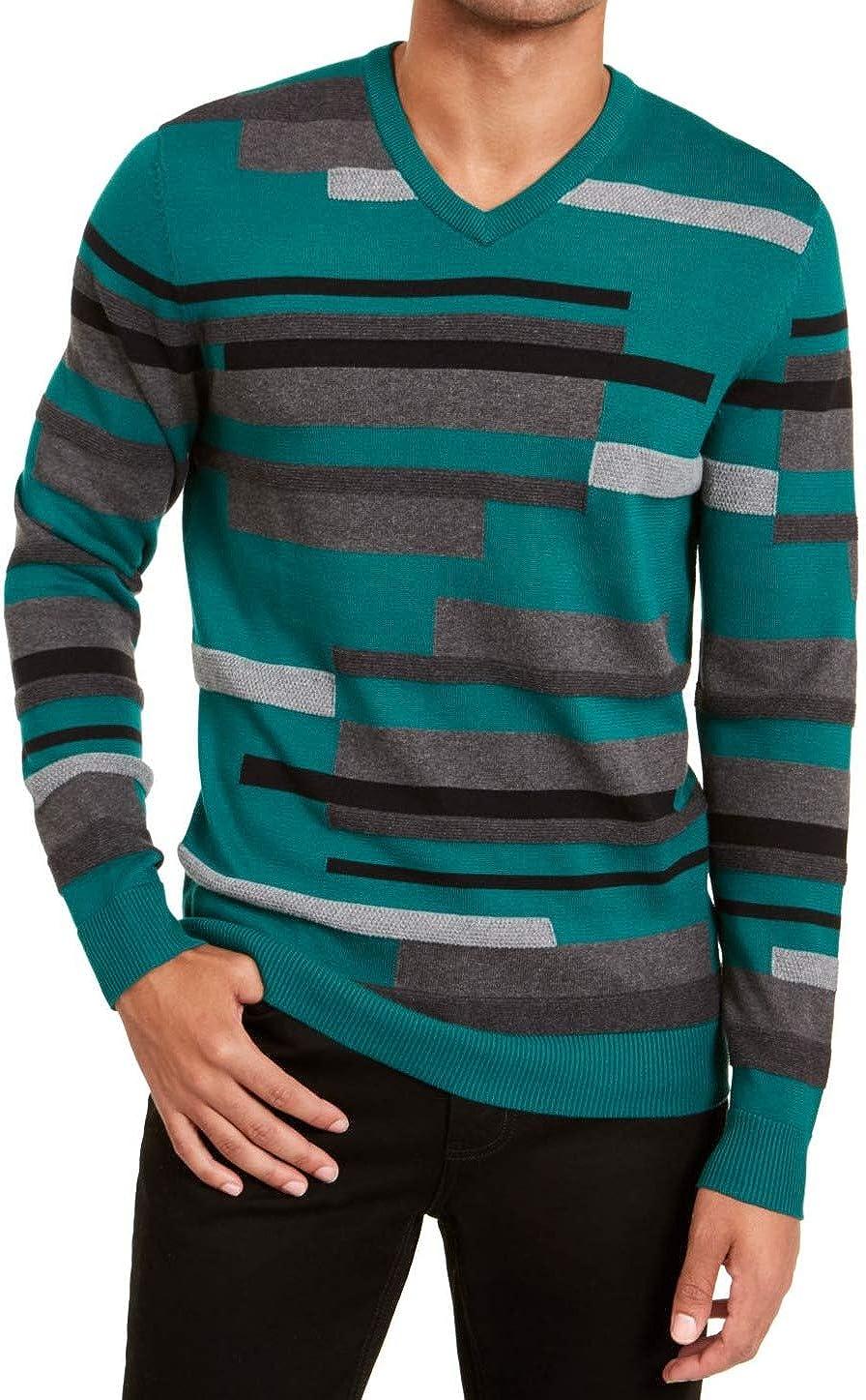 Alfani Mens Cotton Be super welcome Max 41% OFF Striped Sweater