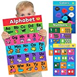 4 Pack - Alphabet Posters for Preschoolers - Numbers - Shapes - Colors - Laminated Learning Posters for Toddlers & Preschoolers - Kindergarten Classroom Decorations Charts