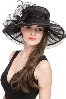 Lucky Leaf Women Kentucky Derby Church Cap Wide Brim Summer Sun Hat for Party Wedding