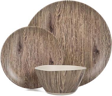 Melamine Dinnerware Sets - 12pcs Melamine Plates and Bowls Set for Indoor Outdoor Use, Dishes Set for 4, Dishwasher Safe, Wood