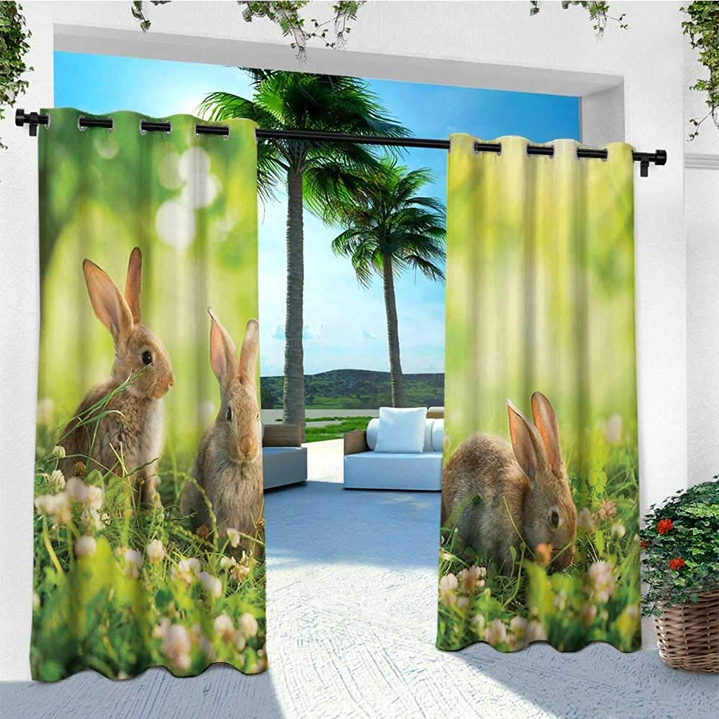 leinuoyi Animal, Outdoor Curtain Extra Wide, Funny Fluffy Rabbits Bunny Family on Daisies Grass Easter Meadow Fresh Image, Outdoor Patio Curtains W120 x L108 Inch Green and Tan