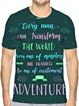 Men's Graphic T-Shirt Travel Hand Drawn Print Poster Hand Lettering Quote Motivation Phrase Travel Hand